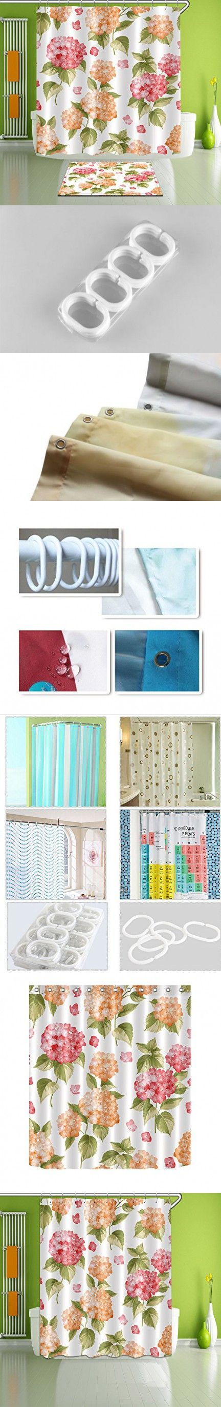 """LB Extra Long Shower Curtain - Flowers are Blooming Waterproof Fabric Home Decor Shower Curtain 72"""" x 84"""""""