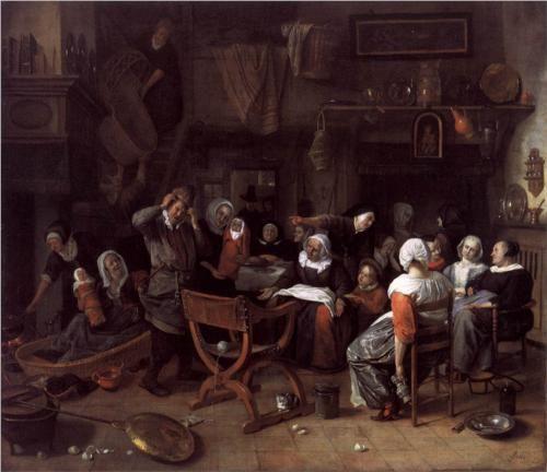 Jan Havickszoon Steen (Leiden 1626 – Leiden 1679)  Twin Birth Celebration