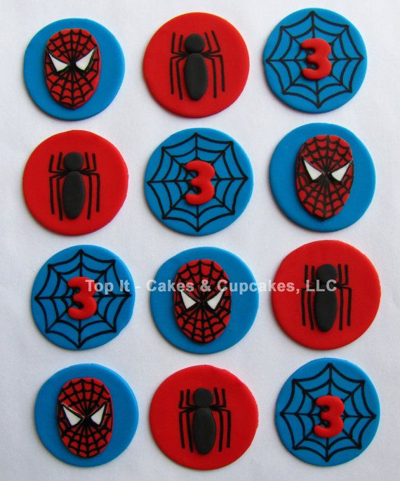 Fondant Cupcake Toppers - Spider Sense Inspired