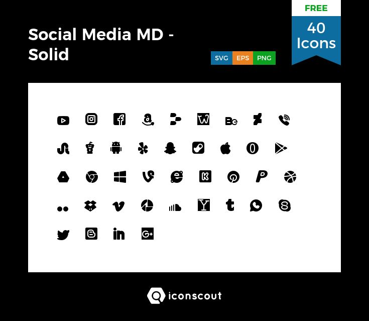 Social Media MD - Solid Free  Icon Pack - 40 Solid Icons