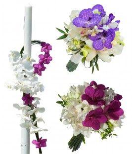 Pachet floral lumanari dendrobium alb phalaenopsis alb