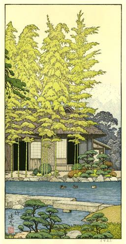 Bamboo Tree of the Friendly Garden  by Toshi Yoshida, 1980 (hanging in my living room-from the Friendly Garden Series)