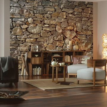 So cool! This vividly realistic Stone Mural is a practical, non-invasive way to achieve that industrial loft look. The easy to install eight-panel work is printed on vinyl-coated paper for an elegant sheen.