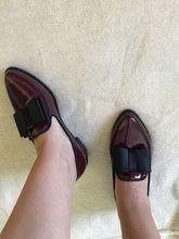 Tienda Online EAGSITY charol señaló slip on pajarita nudo mujeres de los holgazanes de oxfords casual zapatos bajos del talón bajo zapatos de las señoras 43 # | Aliexpress móvil