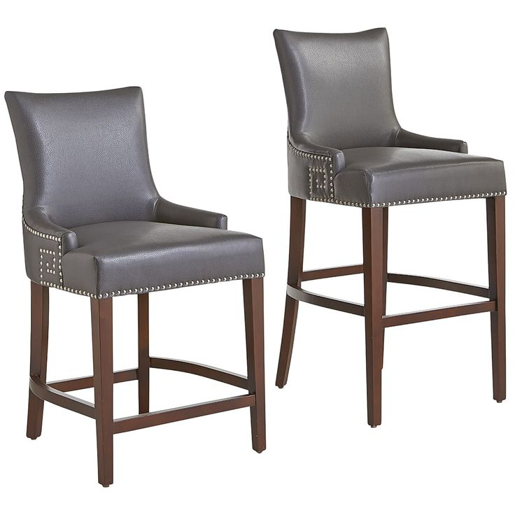 Gray Adelle Bar Amp Counter Stools Pewter Faux Leather