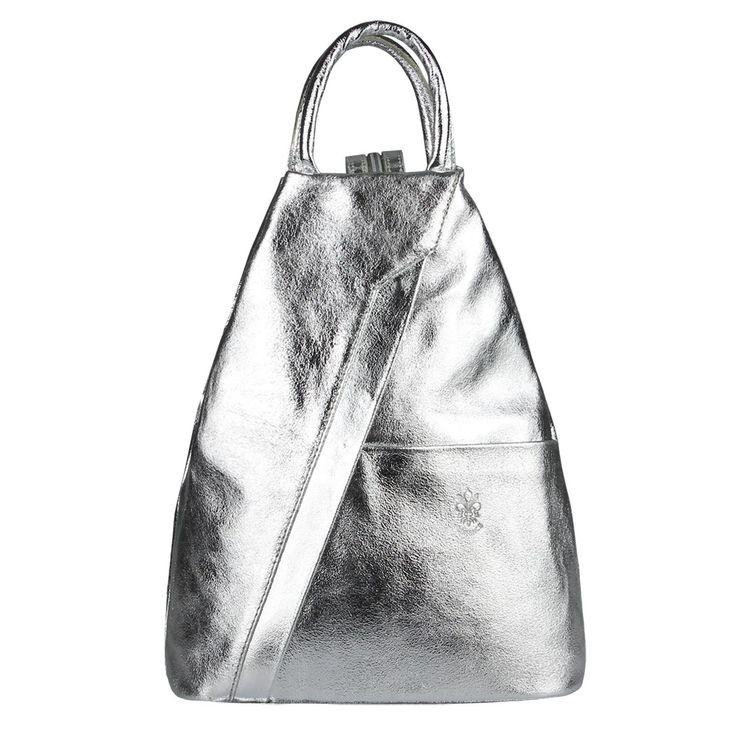 Made in Italy Damen echt Leder Rucksack Backpack Lederrucksack Tasche Schultertasche Ledertasche Nappaleder Silber – Italyshop24.com