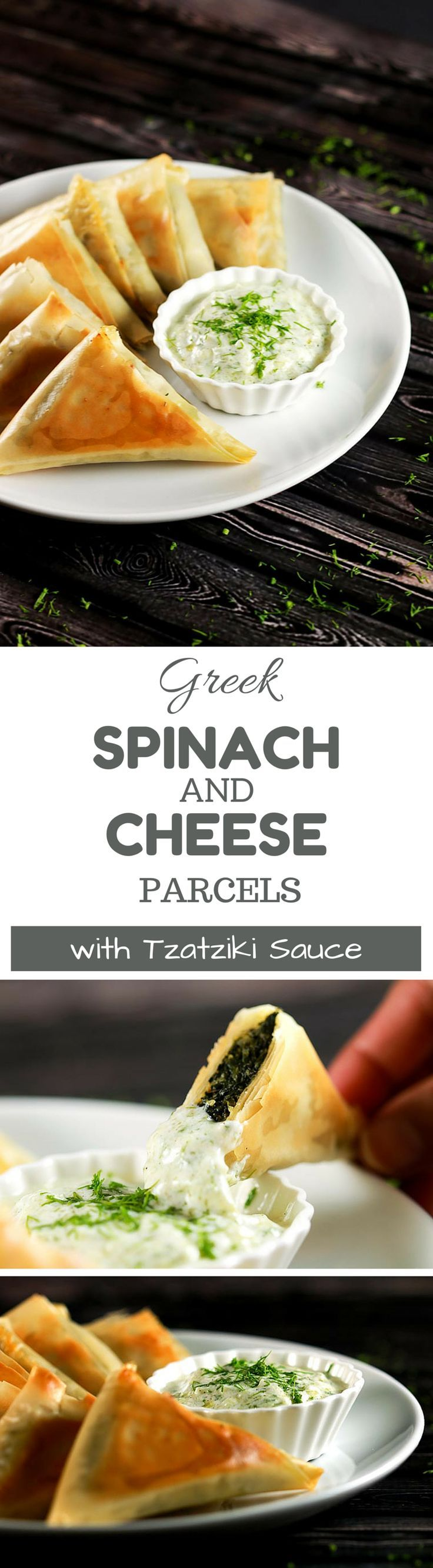 These Greek parcels (called Spanakopitas in Greek) are incredibly easy to make plus they're baked and not fried! YUM! Healthy and absolutely delicious! | http://ScrambledChefs.com