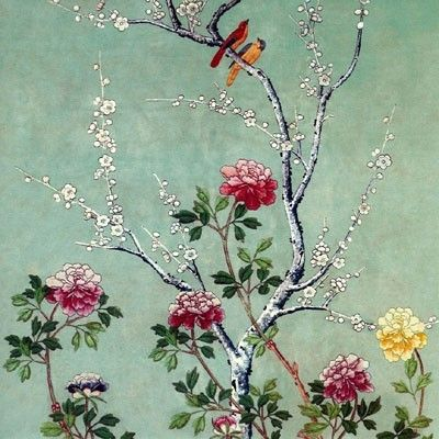 Elegant Mother's Day card illustrated with a detail taken from a panel of Chinese painted wallpaper from about 1790 - £2.50