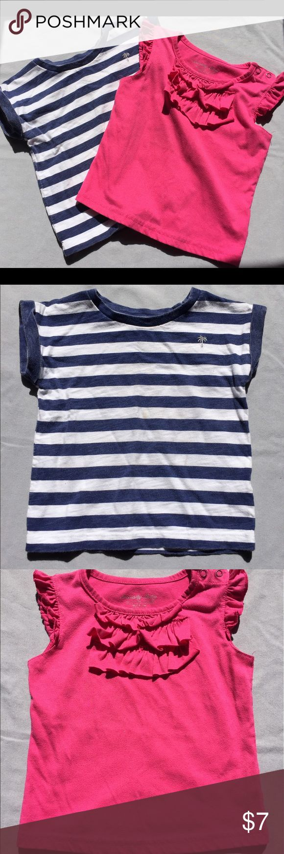 Lot of 2 girls tops size 2T 2 girls tops size 2. One shorts sleeve navy and white striped top Carter's. And one pink ruffle sleeve neck fastened tank top. Normal wear. No stains or rips Carter's Shirts & Tops Tees - Short Sleeve