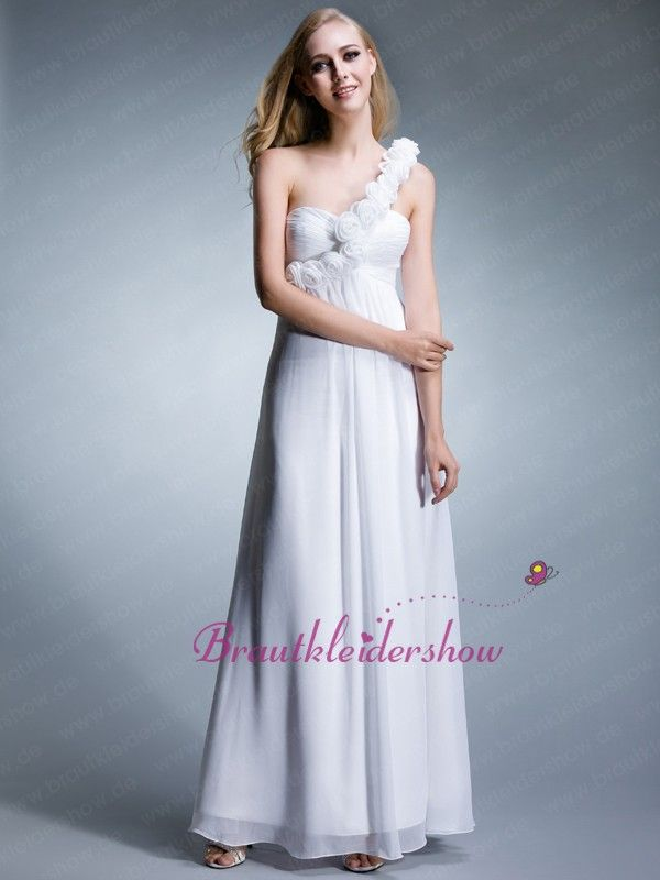 Bodenlang Herzausschnitt One-Shoulder Chiffon Empire Abendkleid GE034 €136.72