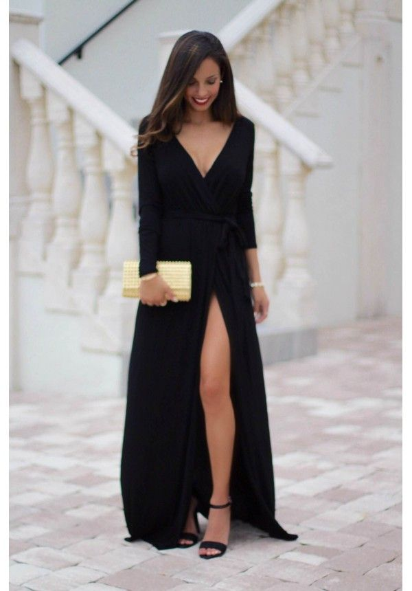 black maxi dress with long sleeves and leg slit farrah esclosetcom
