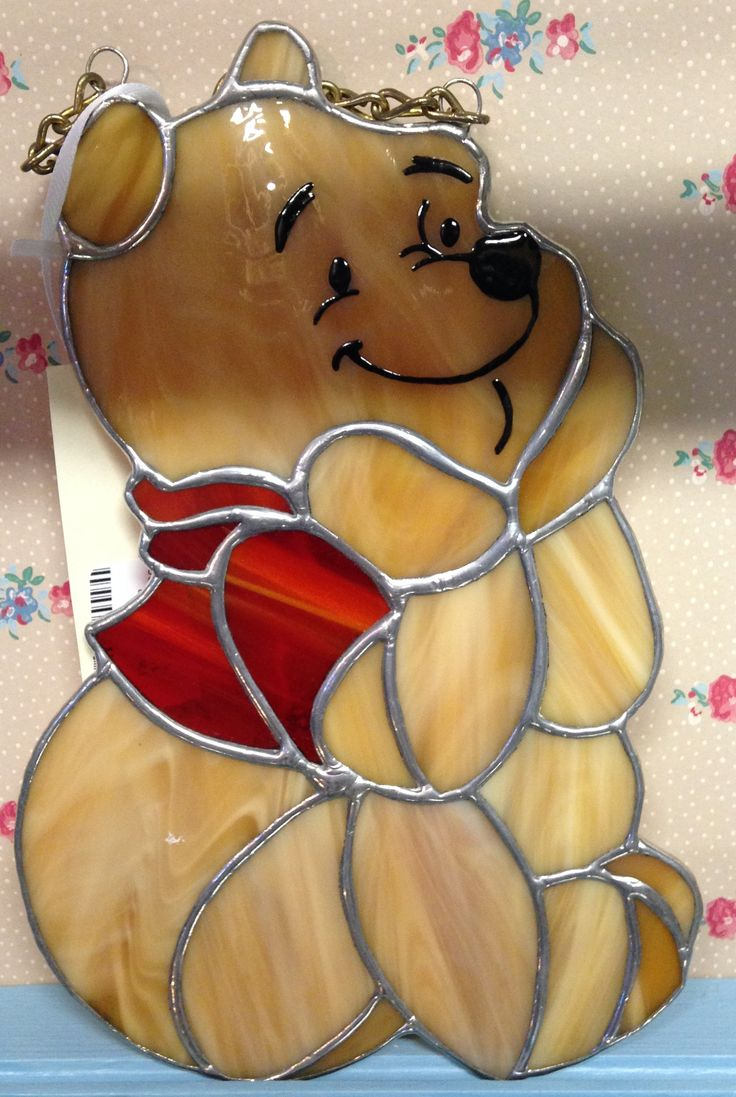 """Stain glass Winnie the Pooh. 10"""" from top of chain to base. $40."""