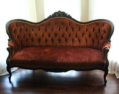 Early Victorian couch, Painted WHITE and aged. RE-worked pattern...love it. Would be beautiful for bridals.