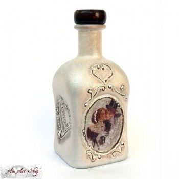 Hand-decorated decoupage bottle, $14