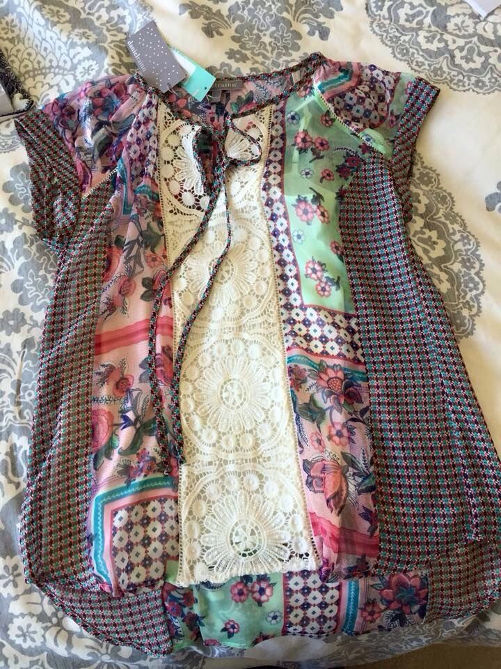 """Daniel Rainn Tolley Mixed Print Crochet Detail Tie Neck blouse - still think this is a great top, but received it's """"cousin"""" in my 3rd fix, May 2015!"""