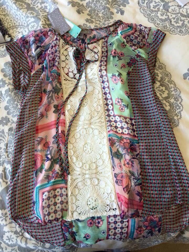 I WANT THIS IN MY NEXT FIX!!! Daniel Rainn Tolley Mixed Print Crochet Detail Tie Neck blouse