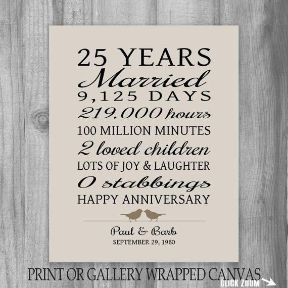 25 Year Anniversary Gift 25th Art Print Personalized For Parents Wife Funny