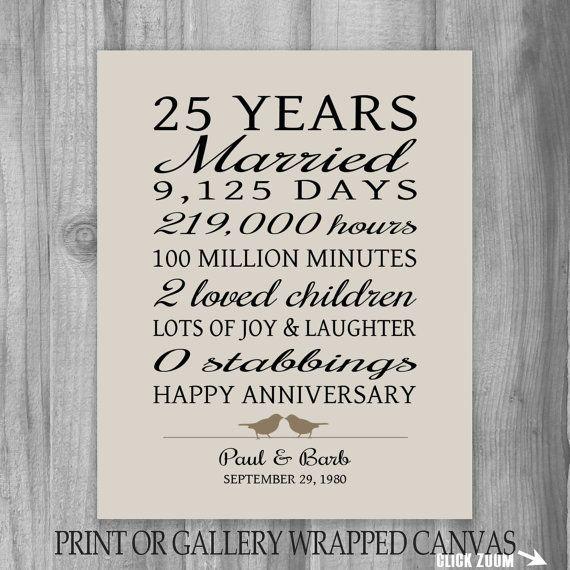 25 Year Anniversary Gift 25th Anniversary Art Print