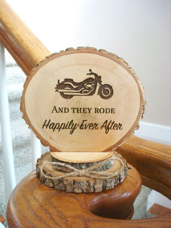 Motorcycle Cake Topper Rustic Wedding Cake by SweetHomeWoods