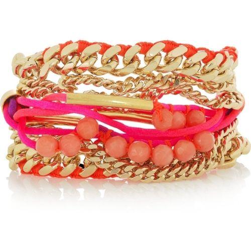 summer colors: Arm Candy, Multi Chains Bracelets, Stacking Bracelets, Fashion Accessories, Multichain Bracelets, Assad Mounser, Jewels, Summer Colors, Bright Colors