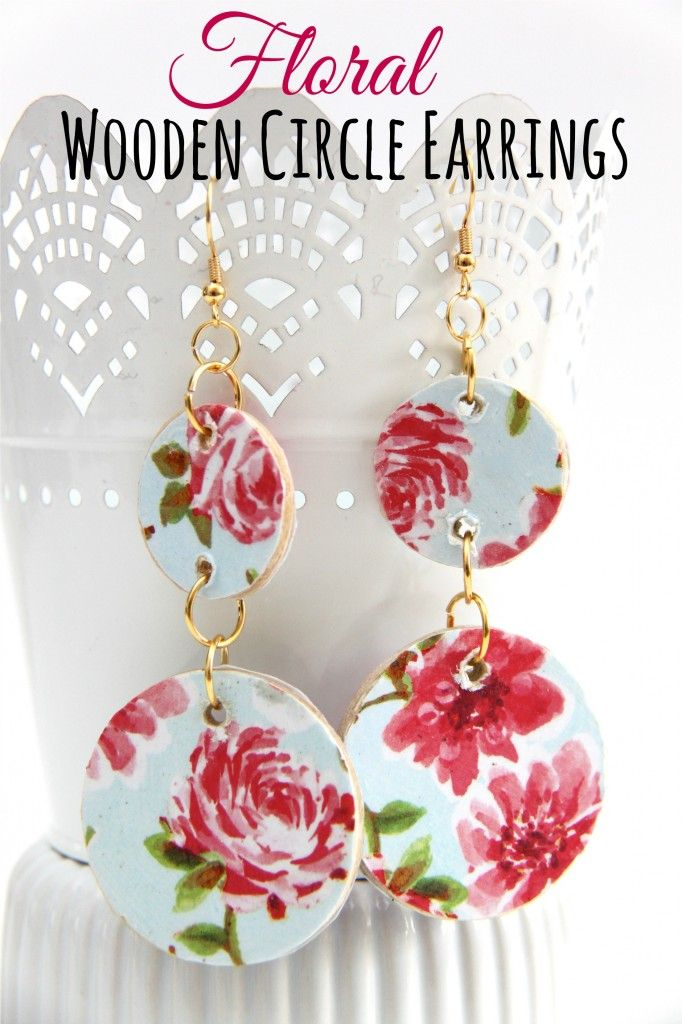 I am absolutely loving this tutorial for Floral-inspired Wooden Circle Earrings, so easy and really cute! #craftmonthlove