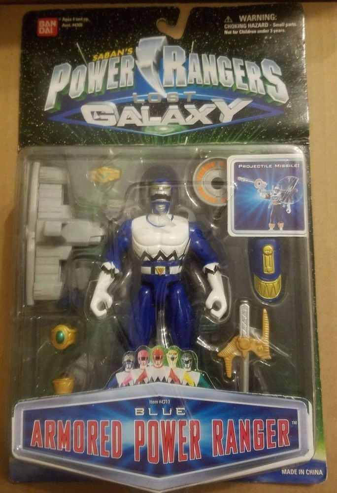 Power Rangers Lost Galaxy Blue Armored Power Ranger action figure NEW ON CARD #Bandai