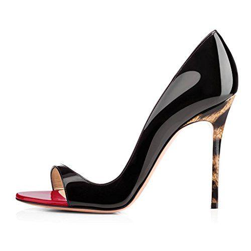 2d39ac22fe5f82 elashe Escarpins Femms Bout Ouvert Talon Aiguille 12cm Talon Haut Chaussures  de Soirée Mariage Noir-