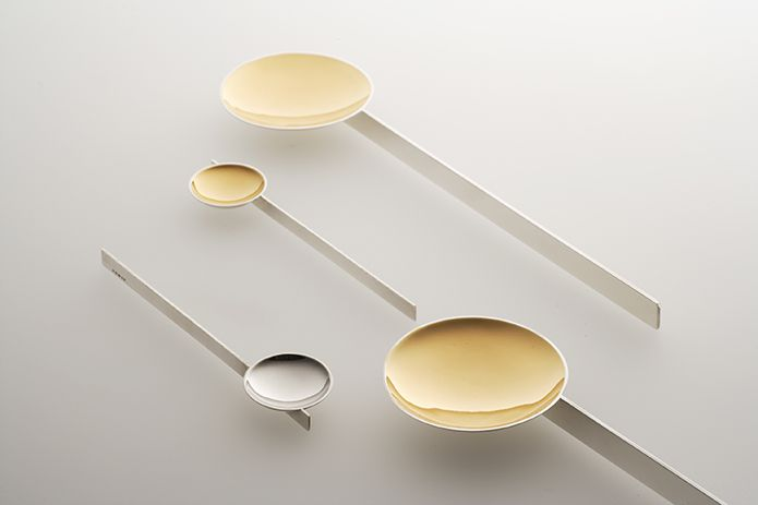 Serving spoons and condiment spoons, Sterling silver, gold plate - by Jacqueline Scholes