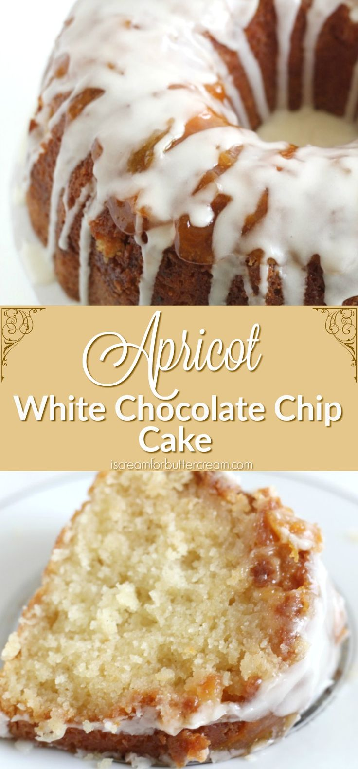 This apricot white chocolate chip cake is moist and delicious with the added bonus of an apricot and confectioner's sugar glaze on top.
