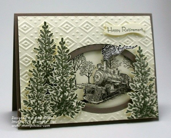 Masculine Card using an embossing folder design with window die cut opening and…