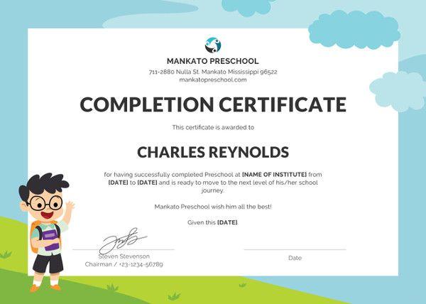 16 Preschool Certificate Templates Certificate Templates