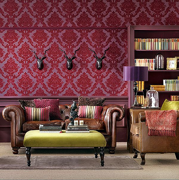 Victorian Flock Wallpaper And Stags Heads