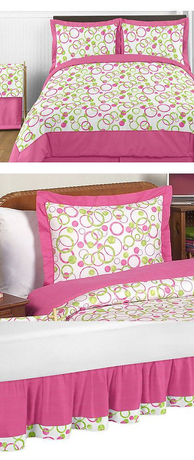 Kids at Home: Pink Green Dot Kids Full Queen Size Bed Bedding Comforter Set For Girl Bedroom -> BUY IT NOW ONLY: $114.99 on eBay!