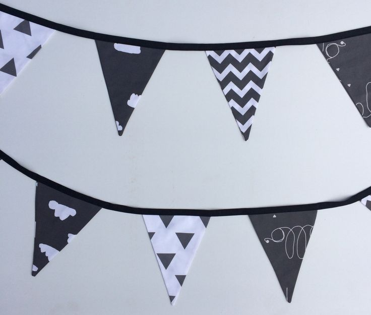 Black & White Hello Clouds (Monochrome) Bunting Flags by Danoah on Etsy https://www.etsy.com/au/listing/204189473/black-white-hello-clouds-monochrome