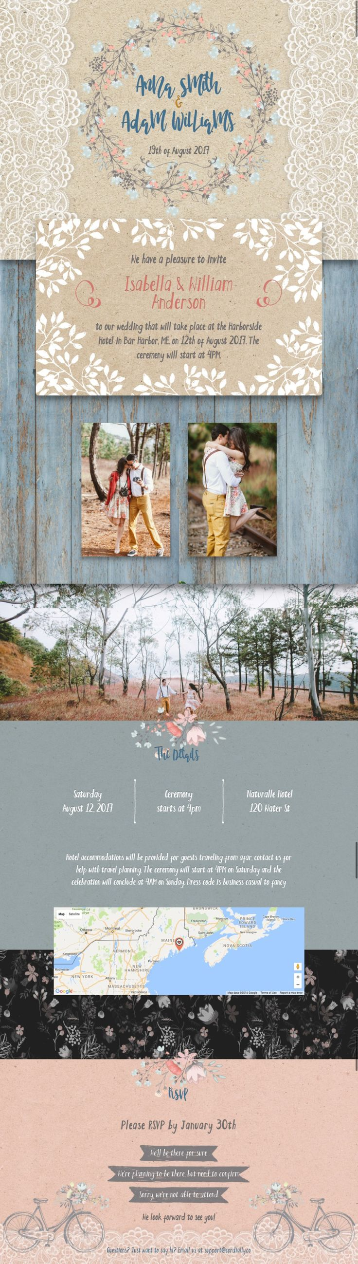 New rustic wedding invitation template at cordially. Free wedding website. Amazing rustic wedding invitation website.