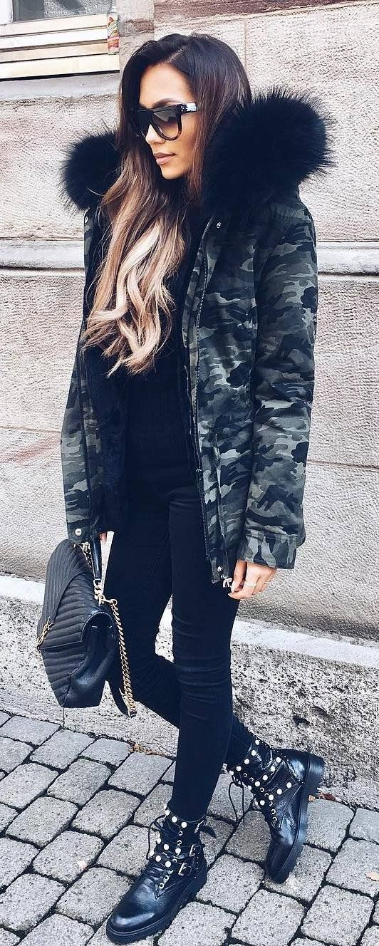 incredible fall outfit idea khaki jacket   top   bag   skinnies   boots