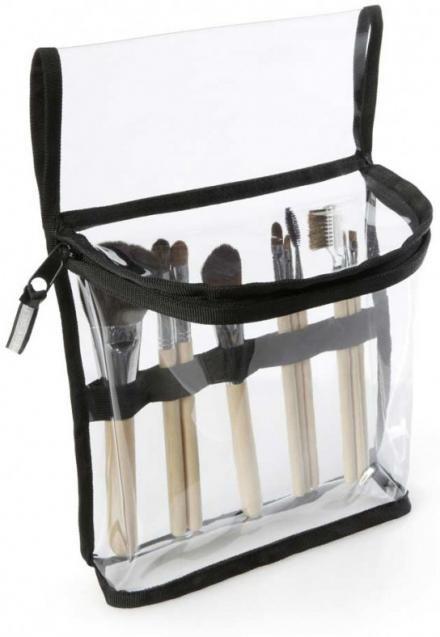 Esta es la bolsa Prima Transparente de Linear Standby Belts. La bolsa ideal para el maquillista en acción. Entradas elásticas para guardar 10 pinceles fácilmente y en su amplio interior caben los artículos esenciales.