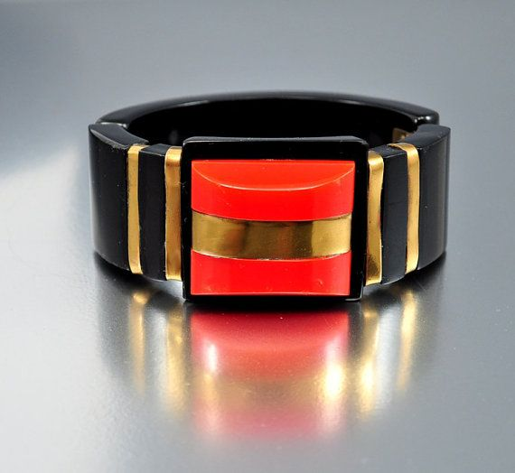 Gold Brass Red Black Bakelite Art Deco Bracelet Vintage Rare Metal Hinged Art Deco Jewelry on Etsy, $362.60 AUD