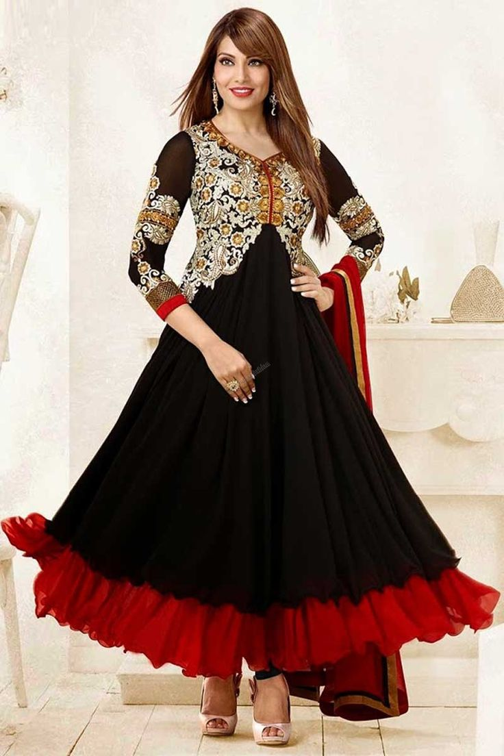 This is perfect Bollywood Collection Suit Black,Red Georgette Anarkali Churidar suit Red dupatta Emblished with Hand,Resham,Zari,Zircon V Neck Kameez Quarter Sleeve Kameez Party,Wedding,Bridal,Festival,Ceremonial Dresses with price $123.45  http://www.andaazfashion.com/womens/lehenga-choli/occasion/bridal-wear-lehenga-choli