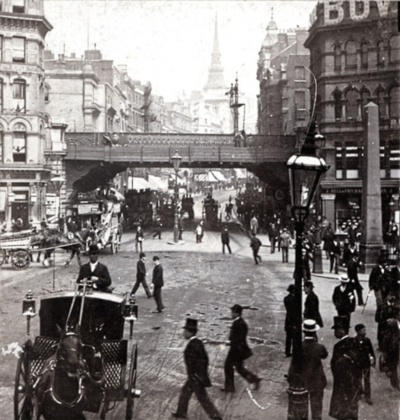 Ludgate Circus from Fleet St., London, England sometime during the turn of the 20th century.