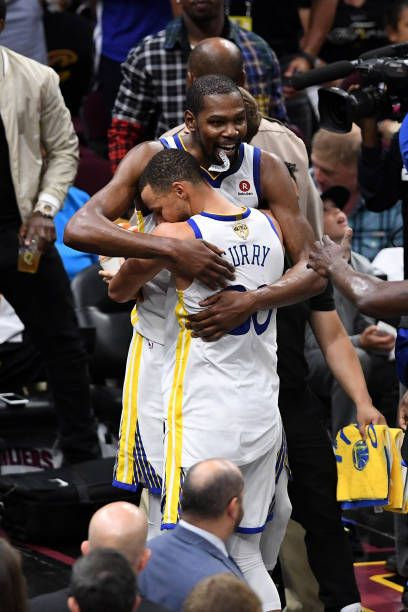 429104678f54 Stephen Curry and Kevin Durant of the Golden State Warriors celebrate late  in the game against the Cleveland Cavaliers during Game Four of the 2018.