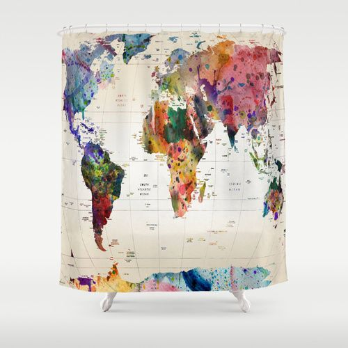 66 best shower curtain images on Pinterest Bathroom showers - best of world map bathroom decor