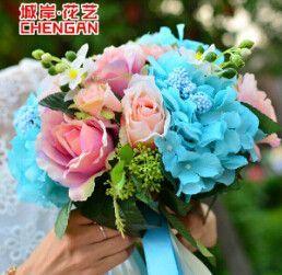 High Quanlity Beauty Colorful Peals Beaded 26cm Wedding Bouquets 2016 Bridal Bouquets buque de noiva Simulation Flowers