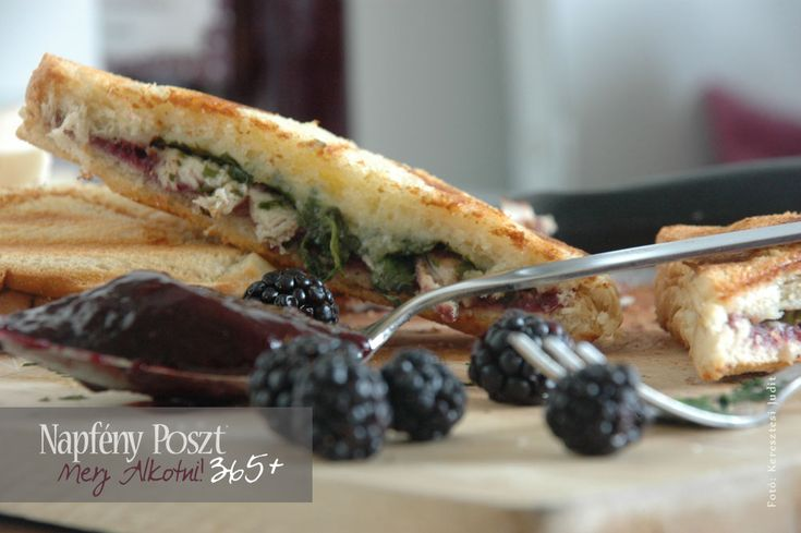 Day 136: Chicken sandwich with blackberry jam and spinach