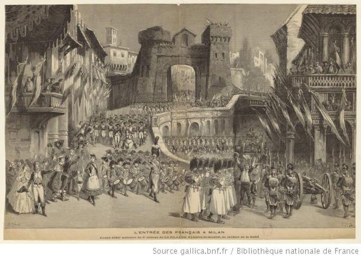 L'entrée des Français à Milan. Grand défilé militaire du 5e tableau de La Fille du Tambour-Major, au théâtre de la Gaîté : [estampe] / F. Méaulle [sig.] ; H. Meyer [sig.] - 1