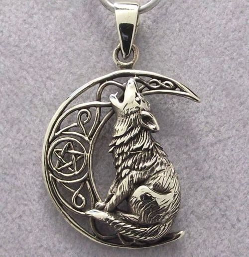 Bronze WOLF & MOON Pendant with Black Leather Cord Necklace - Celtic Pentagram X