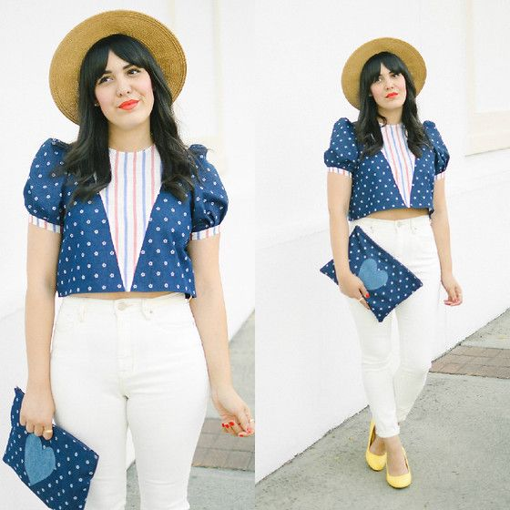 Get this look: http://lb.nu/look/7564172  More looks by Carla Thompson: http://lb.nu/curiousnatalia  Items in this look:  Wimick Navy, Bdg High Rise Vintage White Jeans, Mod Cloth In A Classic Of Its Own Heel In Yellow   #ameria #fourthofjuly #julyfourth #independenceday #ootd #wiwt