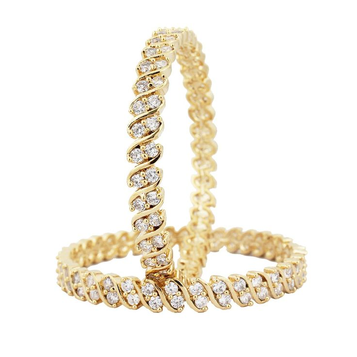 SthriElite Gold Plated  Double Line CZ Bangle