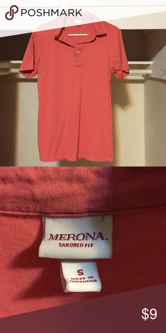 Men's short-sleeve polo. This is a men's small, salmon Merona polo. Merona Shirts Polos