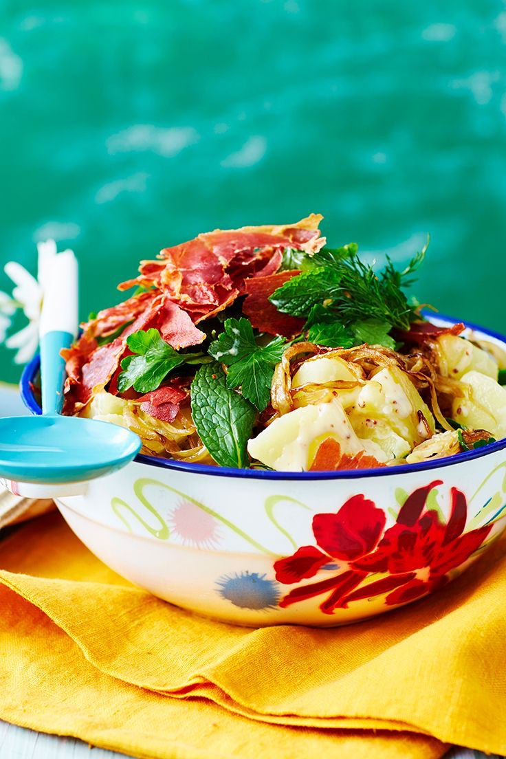 A classic potato salad is a must-have at any gathering. We've topped this one with slices of crispy prosciutto for added texture and a burst of saltiness. With our homemade mayo, it's sure to satisfy.